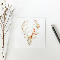 MR STAG - floral deer print postcard