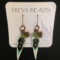 Ceramic green earrings