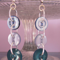 Button Earrings - Blues