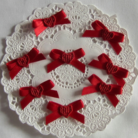 8 Red Heart Ribbon Bows