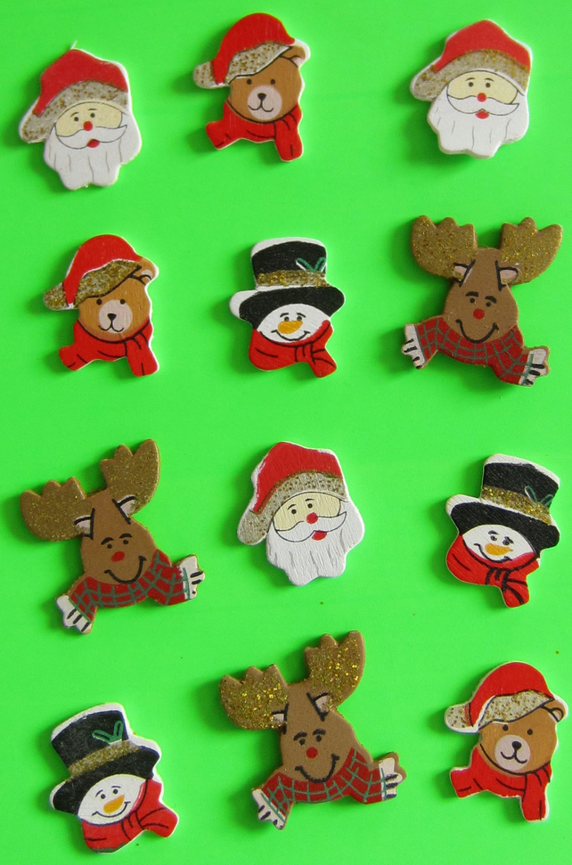 12 Wooden Christmas Shapes