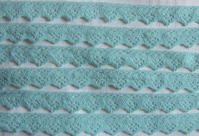 2 Metres of Light Blue Vintage Crocheted Edging