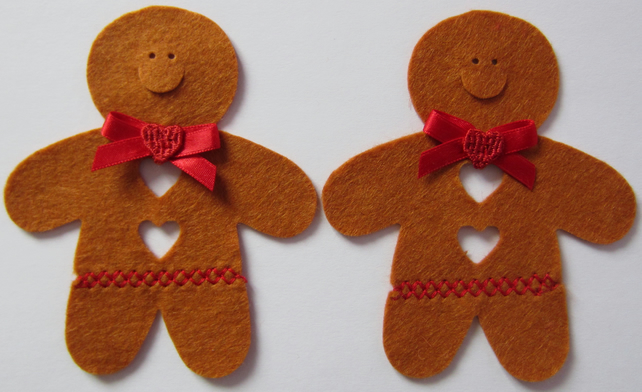 2 Felt Gingerbread Men