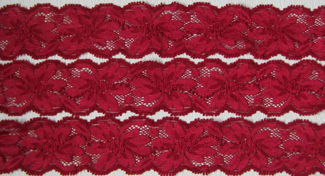 SALE 2.5 metres Red Stretch Lace