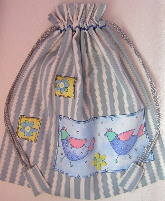 SALE Bird and Felt Flower Drawstring Storage Bag