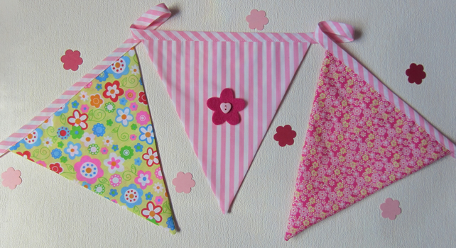 SALE Pink Floral 9 Flag Bunting