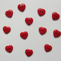 12 Red Heart Buttons