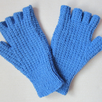 Ladies Blue Fingerless Gloves