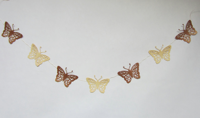 Gold and Cream Butterfly Bunting