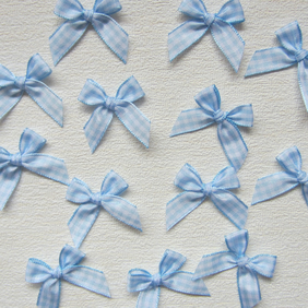 12 Blue Gingham Check Ribbon Bows