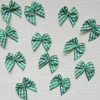 12 Green Gingham Check Ribbon Bows