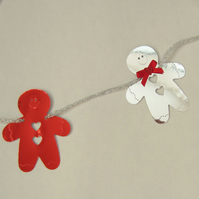 SALE Christmas Silver and Red Gingerbread Men Bunting