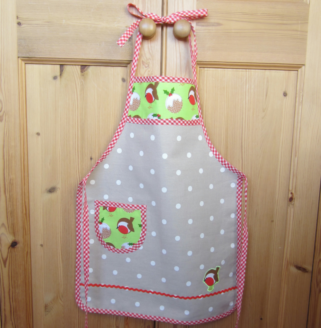 SALE Child's Christmas Robin Apron