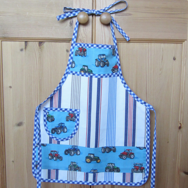 Blue Tractor Child's Apron