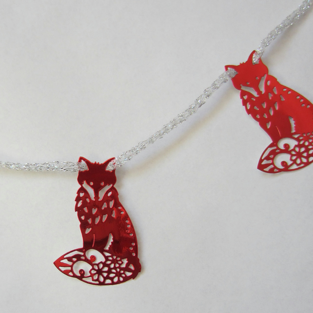 SALE Christmas Shiny Red Fox Bunting
