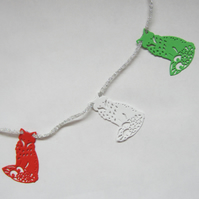 Fox Red, White and Green Foam Christmas Bunting
