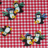 Penguins on Red Check Fat Quarter