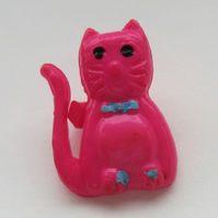 10 Vintage Pink Cat Buttons