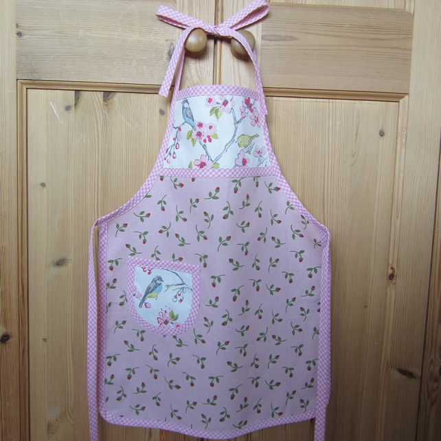 Girl's Pink Bird and Rosebud Apron