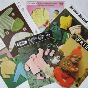 Selection of 6 Vintage Baby Knitting Patterns