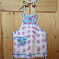 Child's Blue and Lilac Cat Apron