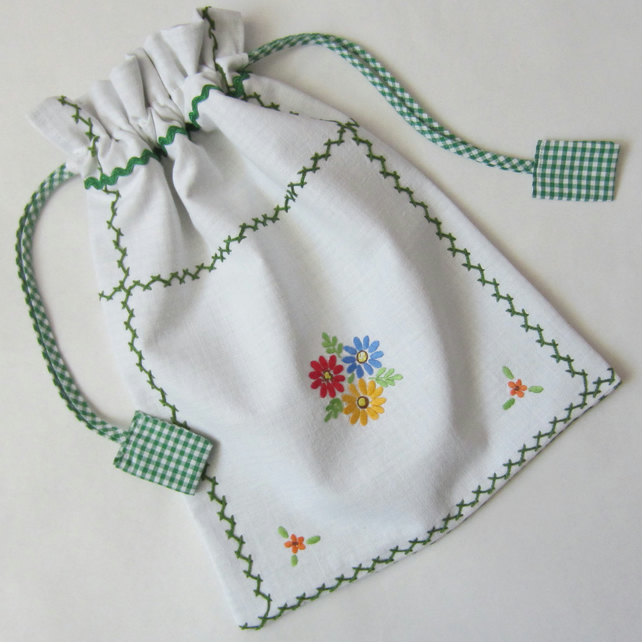 Vintage Hand Embroidered Drawstring Bag