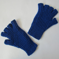 Hand Knitted Dark Blue Fingerless Gloves