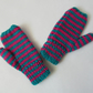 Child's Hand Knitted Pink and Jade Green Striped Mittens