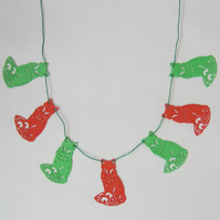 Fox Red and Green Foam Christmas Bunting