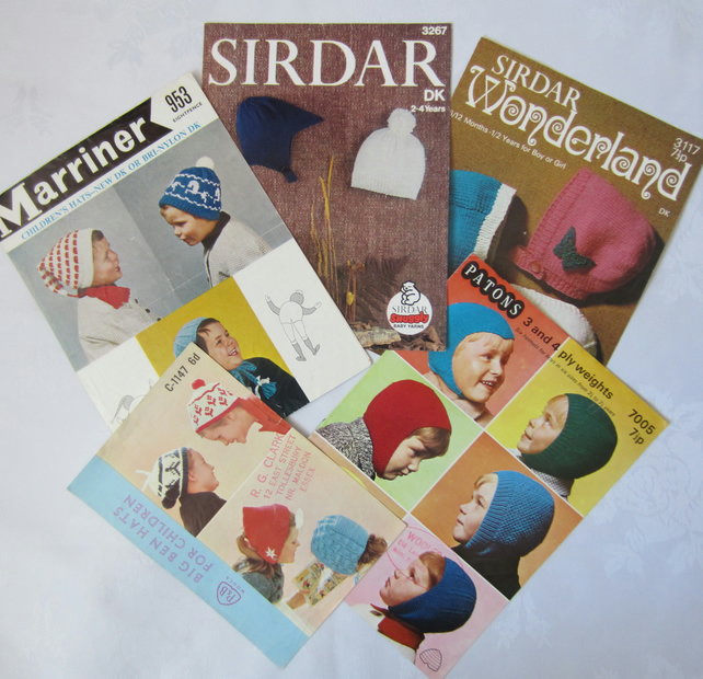 5 Vintage Knitting Patterns - Hats and Helmets for Children
