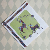 Tartan Stag and Deer Birthday Card
