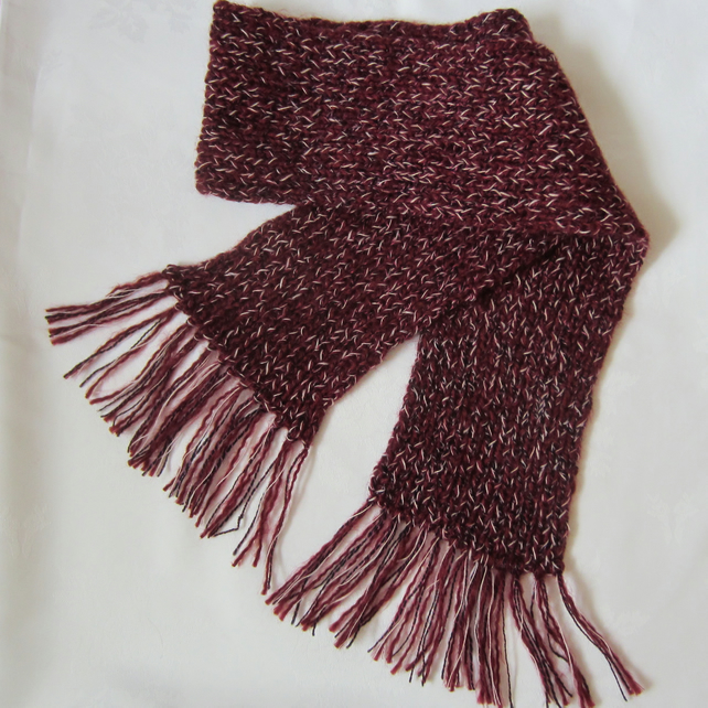SALE Hand Knitted Maroon Chunky Scarf