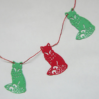 Fox Red and Green Card Christmas Bunting