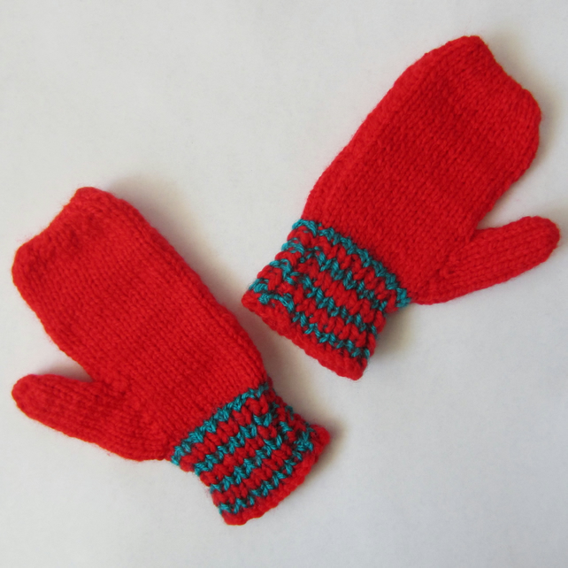 Hand Knitted Child's Red and Green Mittens