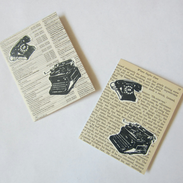 2 Telephone and Typewriter Note Cards
