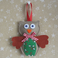 SALE Christmas Felt Owl Tree Decoration