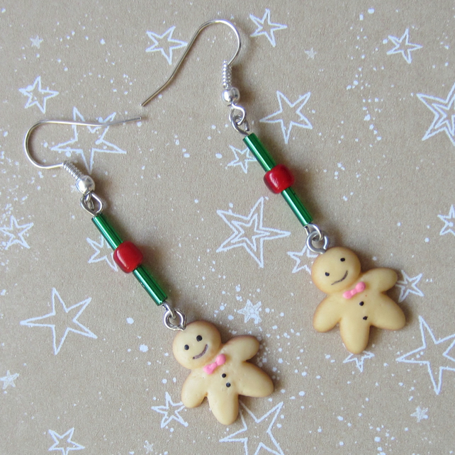 SALE Christmas Gingerbread Men Earrings