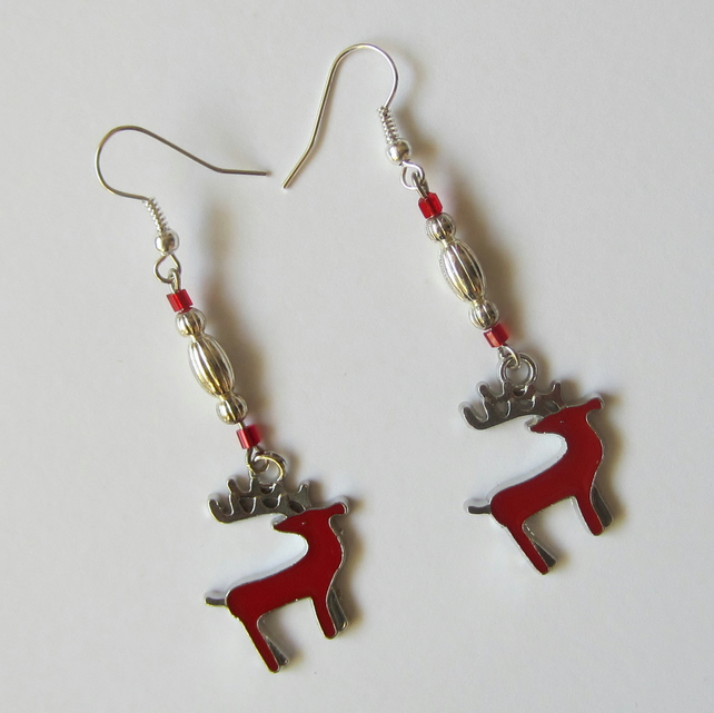 SALE Christmas Red Stag Earrings