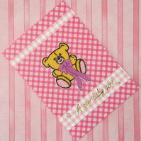 Pink Baby Girl Embroidered Teddy Bear Card