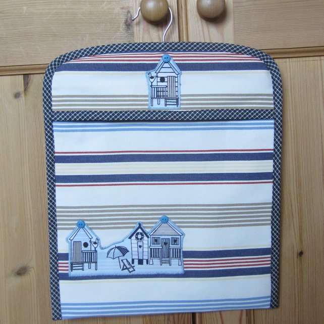 Appliqued Beach Huts Peg Bag