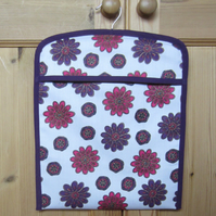 Retro 1970 s Purple Flower Peg Bag