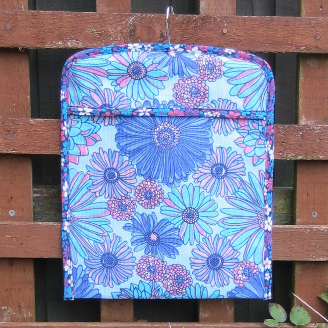 Retro 1970 s Blue Floral Peg Bag