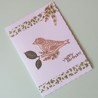 Bird and Leaves Birthday Card