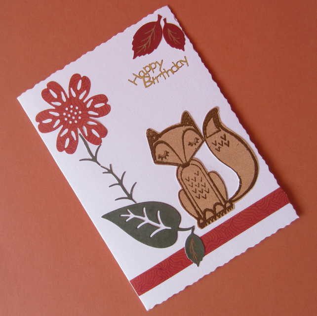 Fox with Flower and Leaves Birthday Card