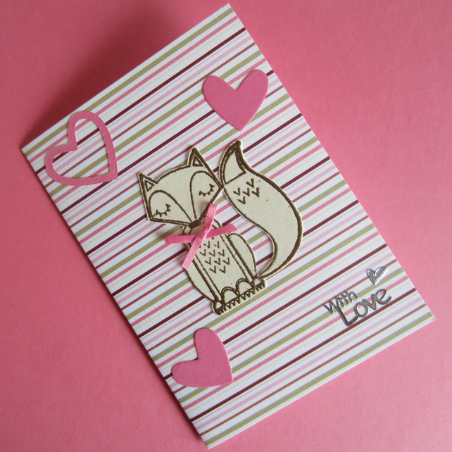 Pink Fox and Hearts With Love Card