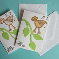 2 Musical Bird and Leaves Gift Cards with Envelopes