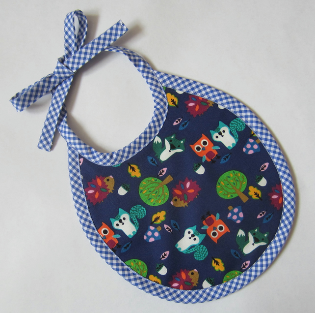 Blue Woodland Animals Babies Bib