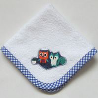 Woodland Animals Owl and Squirrel Face Cloth, Make up Remover, Baby Cloth