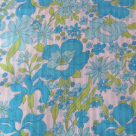 Unused Vintage Blue Floral 1970 s Fabric - 2 Metres