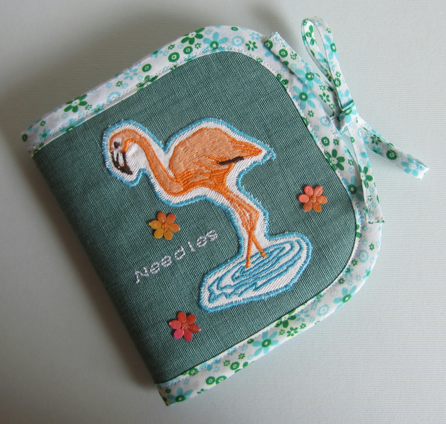 Embroidered Flamingo Needle Case